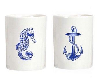 SALE! Charming Pair of Handmade Nautical-Themed Ceramic Tumblers / Cups (Set of Two)