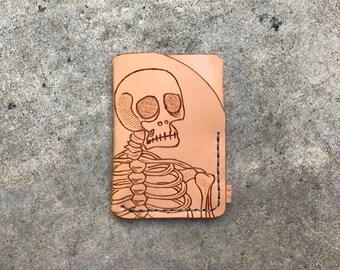 Skeleton leather trifold wallet