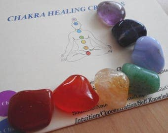 Chakra Healing Crystals - 7 Chakra Healing Crystals with Chakra Sheet & Pouch