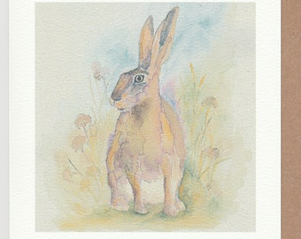Hare card. Originally hand painted with watercolours. Hare watercolour card. Norfolk hare. brown hare painting. hare painting card. wildhare