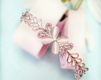 Butterfly Crystal Bracelet- White gold bracelet, Rhinestone bracelet