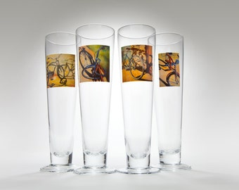 SAMPLE SALE! Set of 4 Beer Glasses with original bicycle art by Amanda Acheson