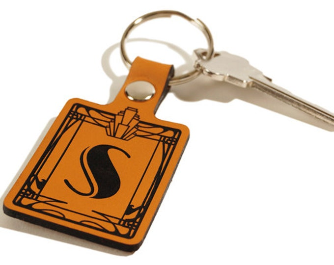 GIFT KEYCHAIN – Initial Keyring – Laser Engraved Leather Key Fob