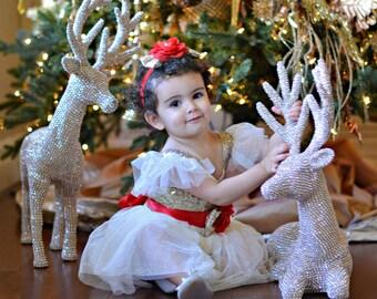 Christmas dress, Red Gold Christmas dress, Flower girl dress, Christmas Dresses,Ivory Tulle dress,rustic Christmas flower girl dresses