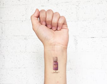 Essential Oils Bottles Temporary Tattoos