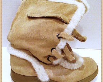 Mid Calf Boots by Aerosole Suede Fur lined Size 9M