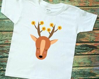 DEER, Woodland Friends, animal Shirt, Hipster Kids Shirts Fox shirt, Bear cub, grafic vinyl tee's, Summertime, Boho, Camping, Nature Shirts
