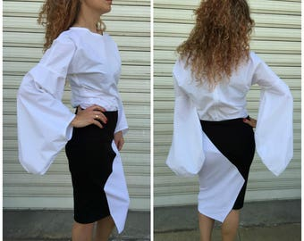 White Extravagant Top / Long Sleeves Shirt / Elegant Party Blouse
