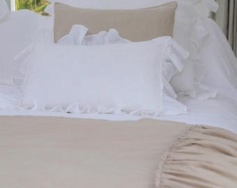 Linen Bed Cover, Linen Blanket, Linen Bed Throw, Ruffled Throw, Linen Bedspread - Gathers Either Side, Dove Beige