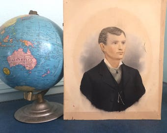 1900's Original Mixed Watercolor & Ink Painting of a Man