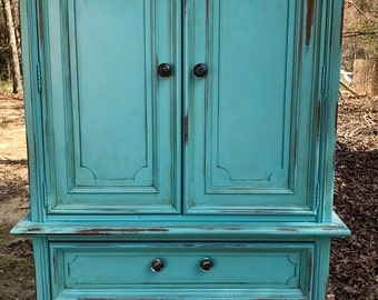 SOLD...Turquoise Distressed Armoire ~ Dresser