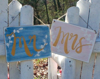 Mr Mrs Chair Signs, Watercolor Wedding Sign, Mr and Mrs Chair Sign, Custom Wedding Signs
