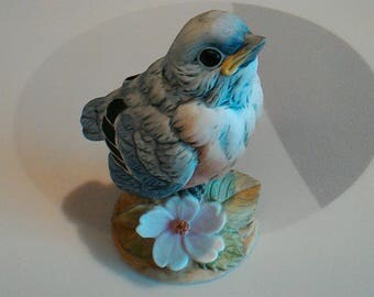 Vintage 1980's Andrea Blue Bird Chick Porcelain Figurine, #6350, Made in Japan