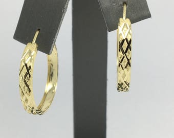 14K Yellow Gold Diamond Cut X Pattern Hoop Earrings