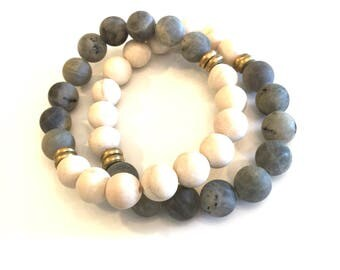 FRIENDSHIP STACK BRACELETS* (preorder) matte riverstone & labradorite with gold accents