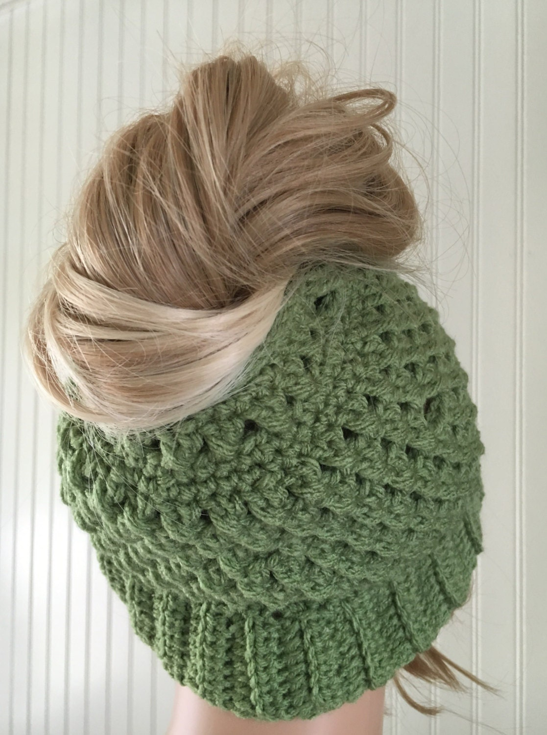 Green Messy Bun Hat Ponytail Hat Crochet Bun Hat Messy