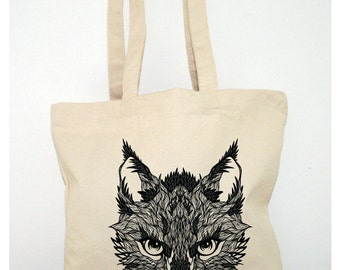 TOTE BAG Canvas shopping Bag  Cotton Organic thick and resistant printed Elegant Bird