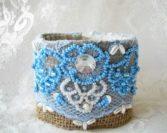 Blue bracelet Boho Bracelet Lace bracelet Shabby Bracelet Cuff Bracelet Burlap Bracelet Women Gift for her Victorian bracelet Wide bracelet