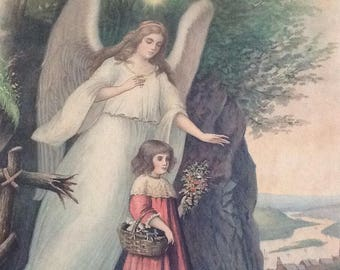 Vintage print of guardian angel with girl. German religious print. Charming print of angel and child. Colored print.