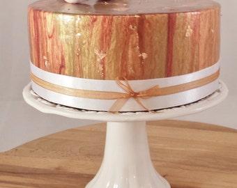 Mirror glaze fake cake, copper cake