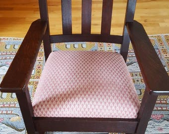 Arts and Craft, Mission Stickley Quarter-Sawn Oak Rocking Chair