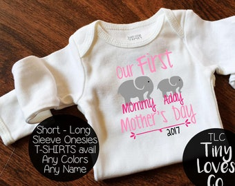 1st Mothers Day onesie. First Mothers Day. Baby Elephant. Personalized onesie. Baby girl onesie. Baby girl onesie. Mom onesie. I Love mommy
