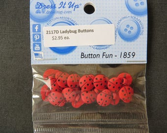 2117D Red Ladybug Button - 1859 Dress It Up