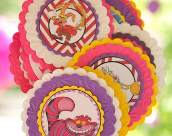 24 Alice in Wonderland cupcake toppers