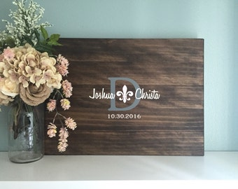 Wedding Guest Book Alternative , Fleur de lis Guestbook Design, Painted Rustic Wedding Decor Wood Guest Book Sign Wedding Guestbook