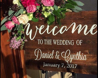 Rustic Wood Wedding Sign / Wedding Welcome Sign / Rustic Wedding Decor / Country Wedding