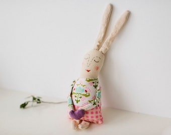 Cotton bunny, eco gift, stuffed rabbit, bunny plush, stuffed bunny, easter bunny gift, woodland nursery, plush toy, soft toys, new baby gift