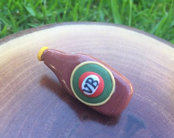 Handmade Little Bits Earrings Brown Ling Neck VB Beer Brooch  Polymer Clay Steel Back Latch