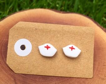 Handmade Little Bits Earrings White Nurse Hat Hospital Stud Earrings w Polymer Clay Surgical Steel
