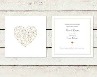 Wedding invitation | Gold printing. Heart | No 1