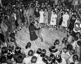 Photo of Jitterbugging Jam Circle at Fort Bragg Social Event, 1942