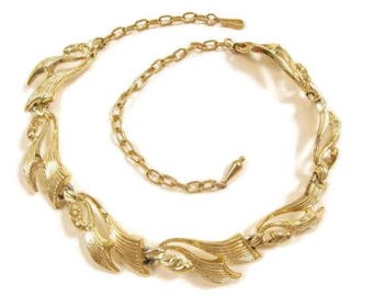 """Large Vintage Art Deco Gold Tone Fin Sail Chain Swirl Link Necklace*17.5""""*Y833"""