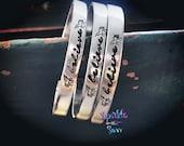 Believe - Hand Stamped Metal Bracelet - Unicorn Jewelry - Unicorn Bracelet