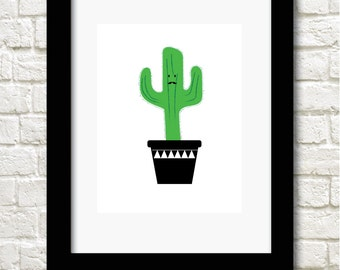 A4 cactus print kawaii wall art