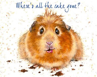 Greeting Card by Jo Stockdale -- ( birthday card, hamster, cake, cute, fun card, notelet)