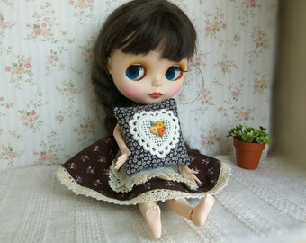 BLYTHE PILLOW HEART. Flowers Extra pillow cushion lacy doll. lace flowers Bedding Bed Doll house diorama Flowers 1:6 scale sonkahouse ooak