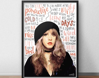 Stevie Nicks quote print / poster hand drawn type / typography