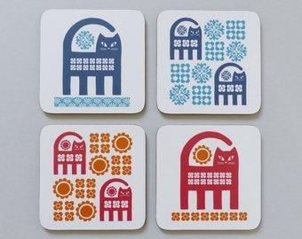 Coasters Cat Retro 70s Scandinavian Mid Century Modern Graphic Set of Coasters