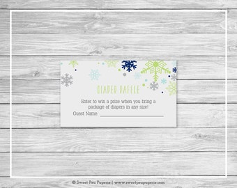 Winter Baby Shower Diaper Raffle Insert - Printable Baby Shower Diaper Raffle Cards - Baby It's Cold Outside Baby Shower - Raffle - SP142