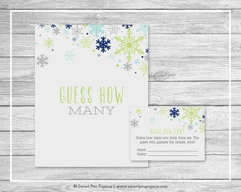 Winter Baby Shower Guess How Many Game - Printable Baby Shower Guess How Many Game - Baby It's Cold Outside Baby Shower - How Many - SP142