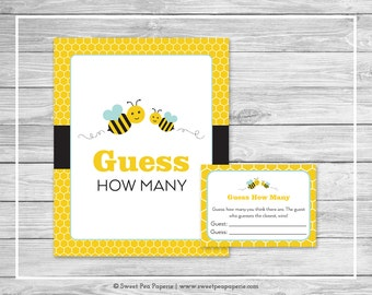 Bumble Bee Baby Shower Guess How Many Game - Printable Baby Shower Guess How Many Game - Bumble Bee Baby Shower - Guess How Many - SP138