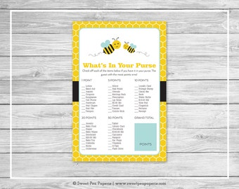 Bumble Bee Baby Shower What's In Your Purse Game - Printable Baby Shower What's In Your Purse Game - Bumble Bee Baby Shower - SP138