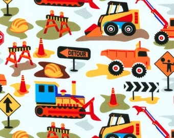 Boys construction work zone curtain valance