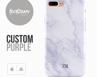 Personalised Initials Marble Phone case, Custom purple iPhone 7, 6, 6s Plus, samsung S8, S7,  5S, SE phone Case, Galaxy S6, S5 gift UK