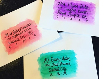 Hand Lettered and Watercolored Envelopes for Wedding Invitations