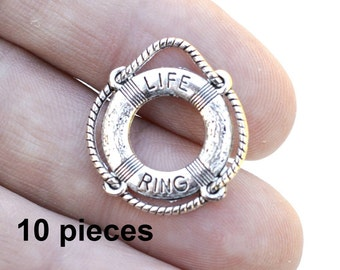 Life Ring Charm, Silver Life Ring, Boating Charm,  Aquatic Charm, #CH338, Antique Silver Charm, Jewelry Charms, 10 pieces Charms